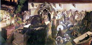 The painting shows people coming out of the grave in Cookham  Churchyard