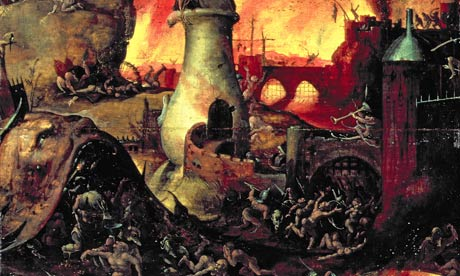 Hieronymus-Bosch-007 painting of hell shwing all kinds of tormented souls