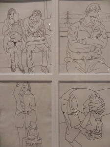 Four separate drawings by Carl Randal of people on the Tokyo Tube
