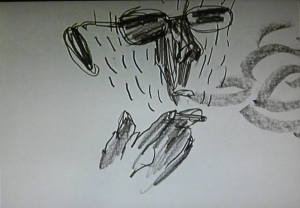 A sketched man smoking a cigarette
