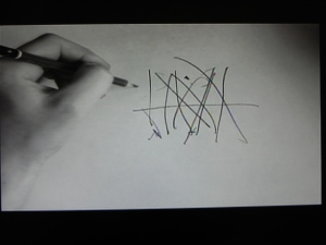 A still shot from a video showing a hand drawing a line; it illustrates the points made by an American pastor