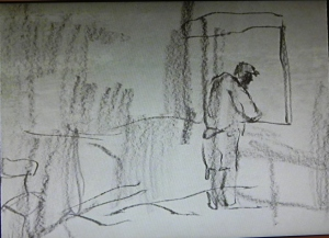 A sketched woman stands looking out of a window in a still from the prize winning video