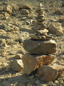 a small column of stones on Mount Teide, Tenerife