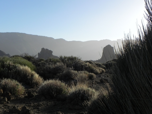 silhouettes show up against the sky line of Mount Teide, Tenerife
