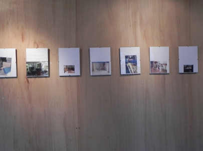 A series of photographs of the old Hasting Art College pinned to the wall