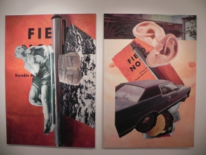 Double painting by Aggtelek showing a collection f images including a car and two ears