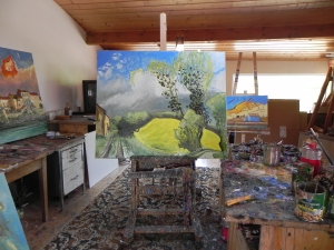 A painting of the Charente Maritime landscape in Jean-Claude Roy's studio