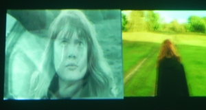 A split scene showing the face and the back of a girl in the film by Maeve Buckenham