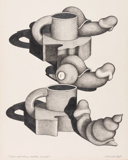 Ken Price (1935 - 2012) Von Bayros Snail Cups 1968 Graphite on Paper 40.6 x 32.4 cm / 16 x 12 3/4 inches PRICE72303